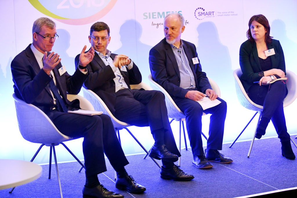 Chris Brown (Asda), Chris Cook (AkzoNobel), Ian Heasman (Taylor Wimpey) and Rachael Everard (Rolls-Royce). Edie Sustainability Leaders Forum 2018.