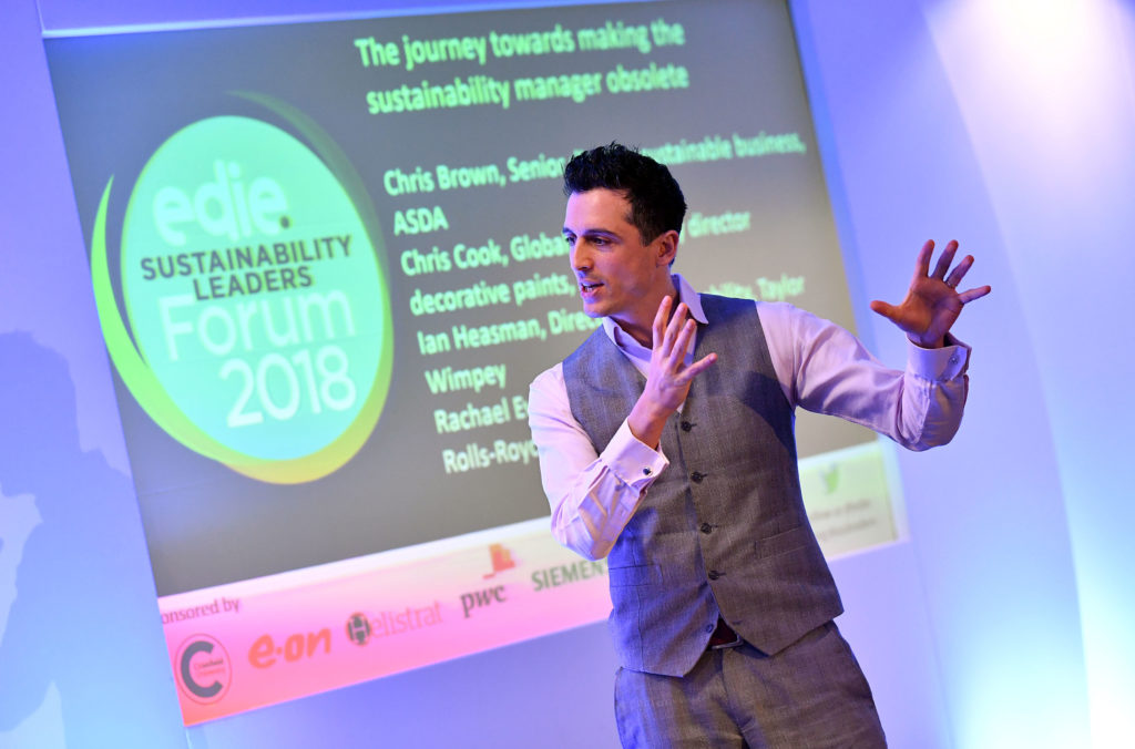 Simon Cohen. Edie Sustainability Leaders Forum 2018.